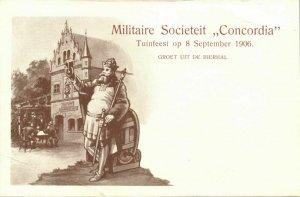 indonesia, JAVA WELTEVREDEN, Military Societeit Concordia, KNIL (1906) Postcard