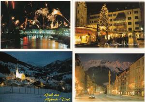 Tirol Austria Night Illuminations Fireworks 4x 1980s Postcard s