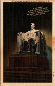 Vtg 1930's Abraham Lincoln Memorial Washington DC Linen Postcard