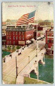 Aurora Illinois~East Fox Street Bridge Birdseye View~Flag Foreground~1911