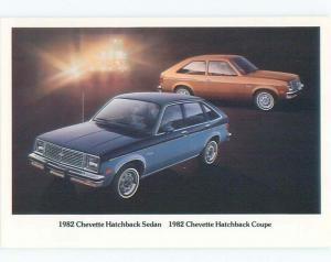 1982 car dealer ad postcard CHEVROLET CHEVETTE HATCHBACK & COUPE W5655