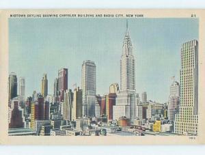 Linen CHRYSLER BUILDING & RADIO CITY New York City NY F9493