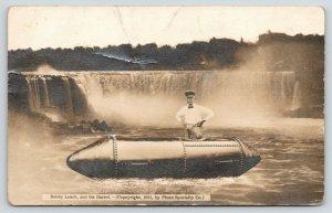 Cornwall UK Leach Survives Niagara Falls Barrel~Orange Peel Demise~RPPC 1911