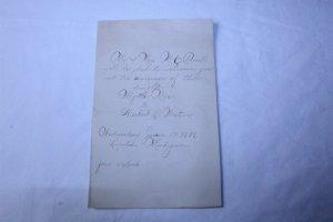 Vintage 1896 Hand Written Wedding Invitation