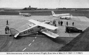 50th Anniversay of the First Airmail Flight Eire Isle of Man postcard