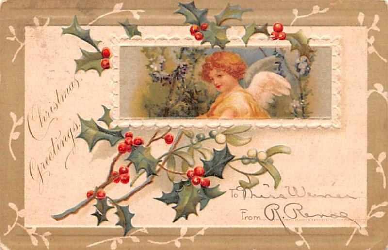 Post Card Old Vintage Antique Chrismas Greetings Postcard