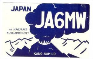 QSL radio postcard, Volcano, Kumamoto City , Japan, 30-50s