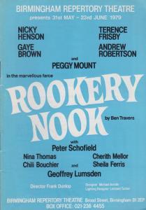 Rookery Nook Nicky Henson Eastenders Peggy Mount Birmingham Theatre Programme