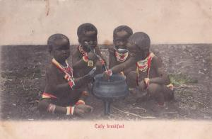 Early Breakfast African Cooking Pot Childrens Antique Postcard