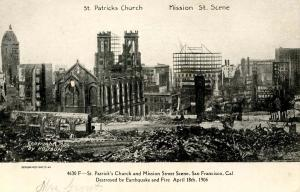 CA - San Francisco. 1906 Earthquake & Fire, Mission St and St Patrick's Church