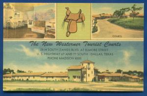 Dallas Texas The New Westerner Tourist Courts Lobby Roadside Motel Postcard