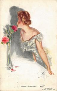 Harrison Fisher~American Beauties~Lovely Lady Sniffs Red Rose~Casts Shadow~1911
