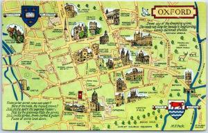 1968 OXFORD UNIVERSITY England UK Postcard Campus / Street Map w/ Cancel