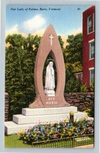 Barre VT, Our Lady Of Fatima, Ave Maria Shrine, Garden, Linen Vermont Postcard