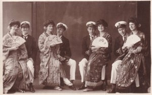 Southend On Sea Sailors With Japanese Women Antique Photo Postcard