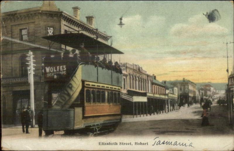 Hobart Tasmania Trolley Close-Up c1910 Used Postcard - Cover/Cancel