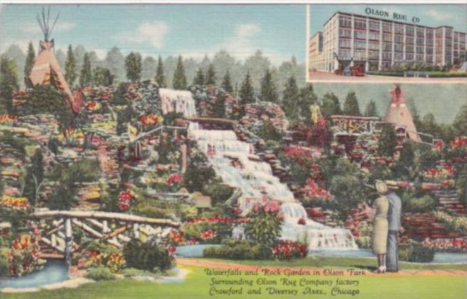 Illinois Chicago Waterfalls and Rock Garden In Olson Park Surrounding Olson R...