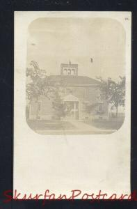 RPPC LOST NATION IOWA SCHOOL HOUSE BUILDING VINTAGE REAL PHOTO POSTCARD