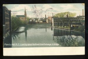 Pawtucket, Rhode Island/RI Postcard, Looking Down River From Exchange St Bridge