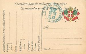 Italian telegraphic military genius regimen cartolina in franchigia R. Esercito