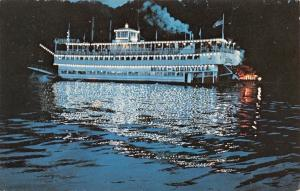 Ohio River~Belle Of Louisville Paddlewheel Steamer~Night Lights~1960s Postcard