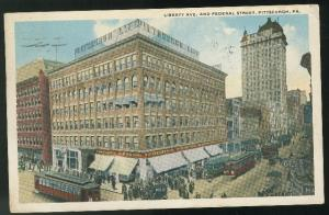 PA Pittsburgh Liberty Ave and Federal St Trolleys Vintage Postcard