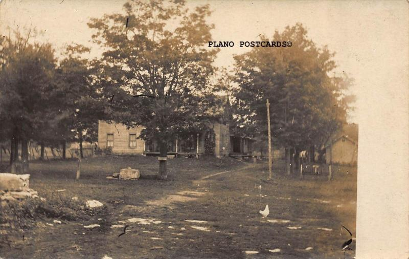FARM HOUSE WITH EQUIPMNT-EARLY 1900'S RPPC REAL PHOTO POSTCARD