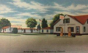 Walsenburg CO Postcard Gas Pumps Norton's Modern Court Linen