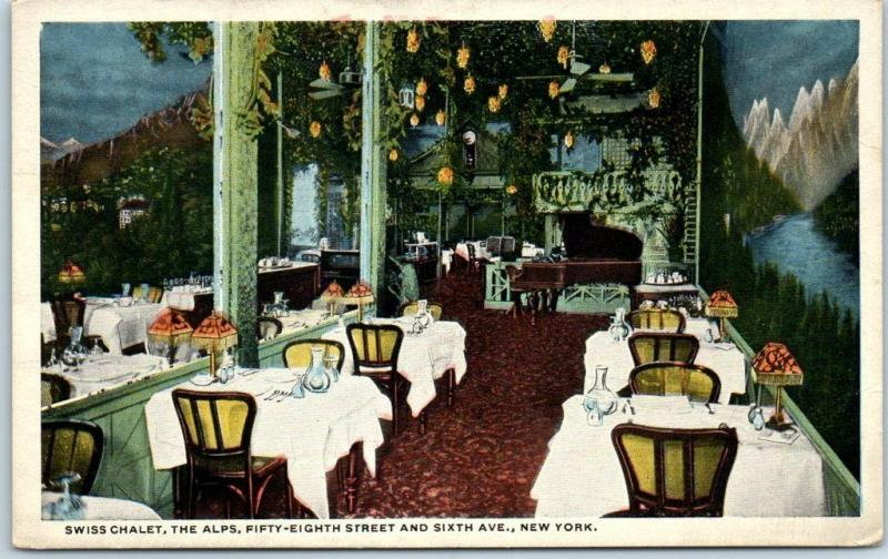 1921 New York City Postcard SWISS CHALET RESTAURANT 58th Street & 6th Ave.