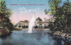 WIESBADEN, Hesse, Germany, 1900-1910's; Kurhaus Gartenseite Mit Weiher