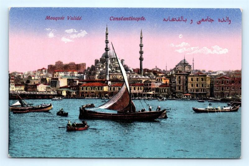 Postcard Turkey Constantinople Mosquee Valide View From Harbor K10