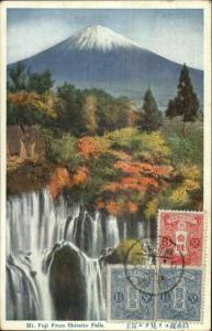 Japan - Mt. Fuji From Shirarito Falls c1910 Used Postcard Stamps on Front
