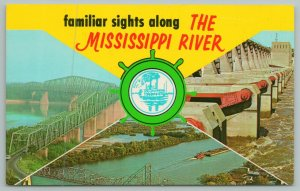 Mississippi~3 Scenes of Bridges On The MS River~Vintage Postcard