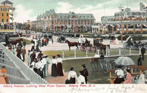 Asbury Ave., Looking West from Casino, Asbury Park, NJ, Early Postcard, Unused