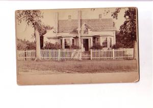 Country House with Woman and Child, Thick Card Vintage Photograph