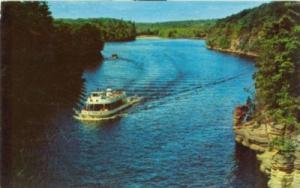 View looking up Wisconsin River, 1960s used Postcard