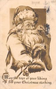 D92/ Santa Claus Merry Christmas Holiday Postcard c1910 Newark Ohio Stocking 21