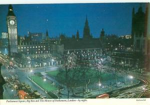 Vintage Postcard  Night Scene Houses Parliment Big Ben England Britain  # 1260