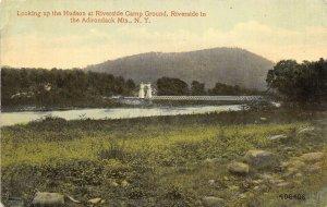 Adirondack Mountains New York 1915 Postcard Bridge Riverside Camp Ground