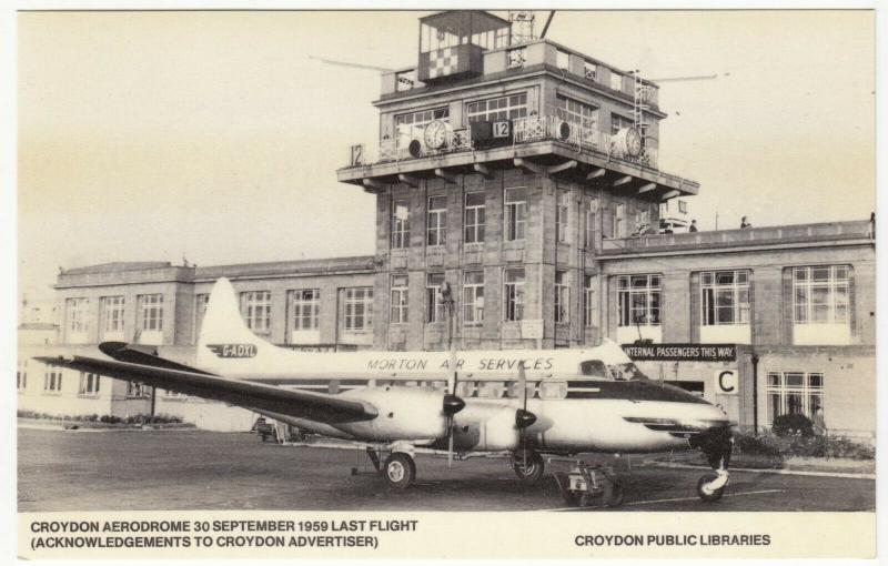 London; Croydon Aerodrome, 30-9-59 Last Flight Repro PPC, By Croydon Libraries