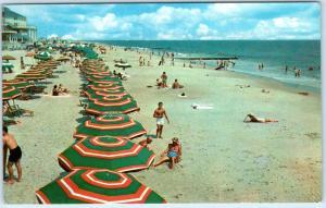 OCEAN CITY, Maryland  MD     BEACH SCENE with Umbrellas  1964   Postcard