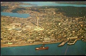 Washington SEATTLE Aerial View of Elliott Bay World's Fair Site - Chrome