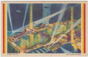Chicago World's Fair Lagoon at Night Postcard 1933 Century of Progress Unused