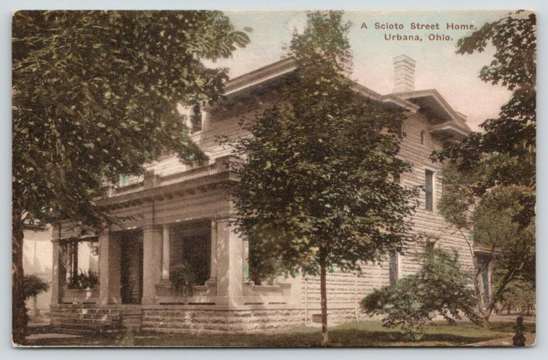 Urbana Ohio~Handcolored~502 Scioto Street~Parapet on Porch~Shade Trees~c1910 PC