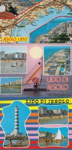 Lido Di Jesolo Sailing Ships Sunset Aerial Map 3x Postcard s