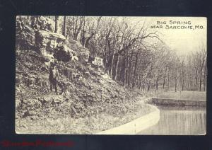 SARCOXIE MISSOURI BIG SPRING B&W ANTIQUE VINTAGE POSTCARD MO.ALMA MO.
