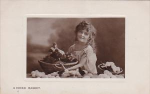 RP; A Mixed Basket, Girl with basket of Ducklings and Eggs, PU-1910