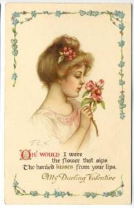 My Darling Valentine Beautiful Woman Poem Signed F.E.N. Ernest Nister Postcard