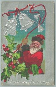 Christmas~Santa Rings Silver Bells~Red Suit~Brown Fur Trim~Holly~1910~Embossed