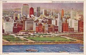 Illinois Chicago Bird's Eye View Michigan Boulevard 1938
